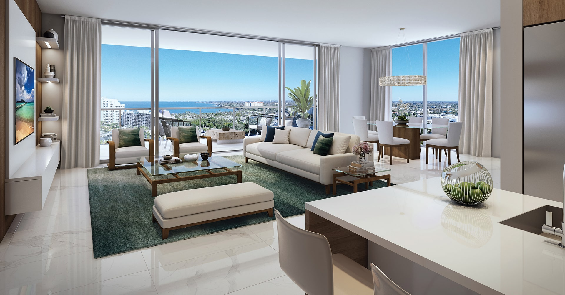 Bayso Great Room Rendering with view of bayfront