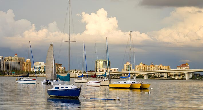 blue & yellow boats on the water sarasota bayfront