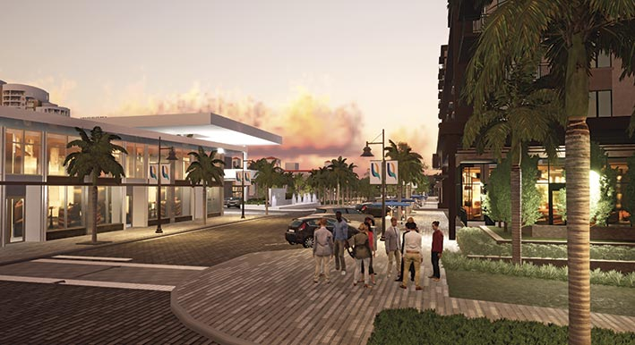 rendering of quay sarasota with people walking on street
