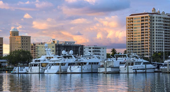 boats docked in the sarasota bay marina